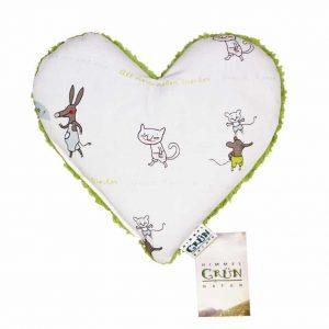Hirse Babykissen Kräuterkissen vorne in Herz Form - Liebe Viecher Design