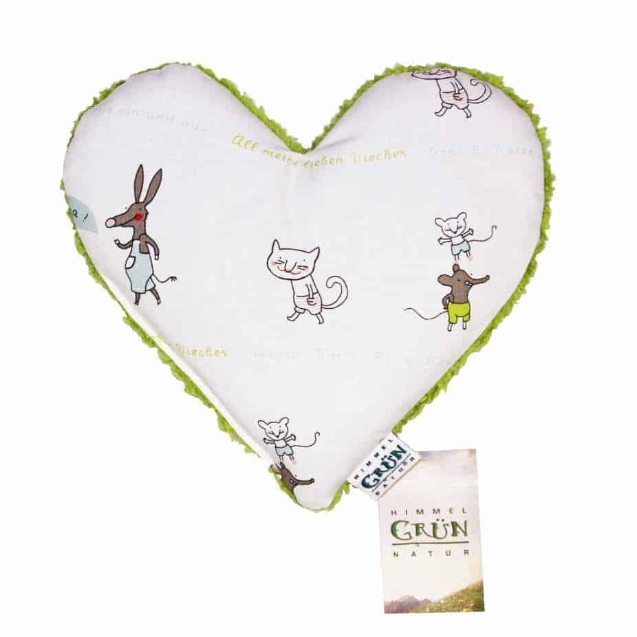 Hirse Babykissen Kräuterkissen vorne in Herz Form – Liebe Viecher Design