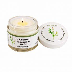 7 Kräuter Duftkerze Ruhe – 60ml – Massagelicht – Massagekerze